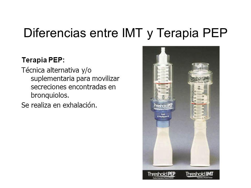 Diferencias entre IMT y Terapia PEP Terapia PEP: Técnica alternativa y/o suplementaria para movilizar secreciones encontradas en bronquiolos. Se reali