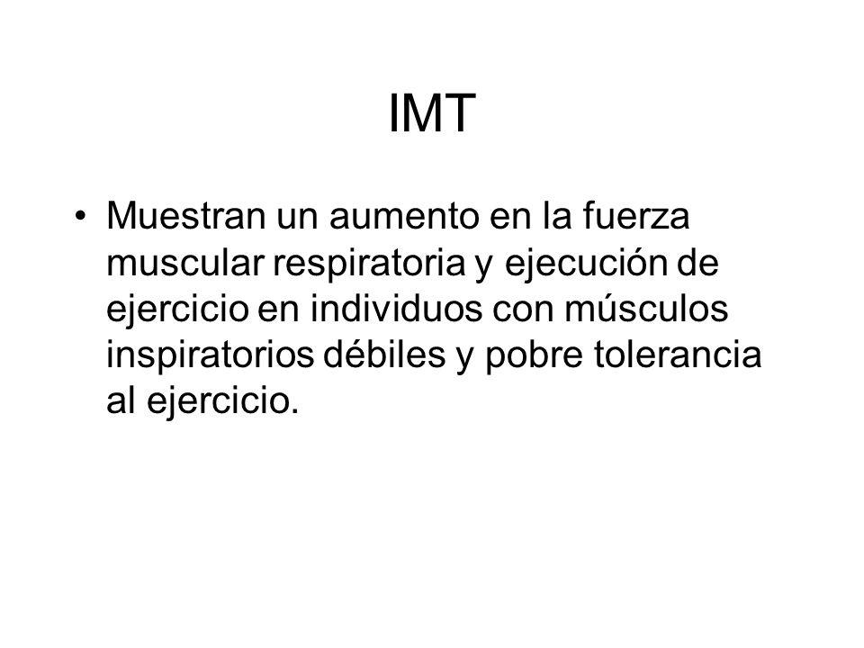 IMT Muestran un aumento en la fuerza muscular respiratoria y ejecución de ejercicio en individuos con músculos inspiratorios débiles y pobre toleranci