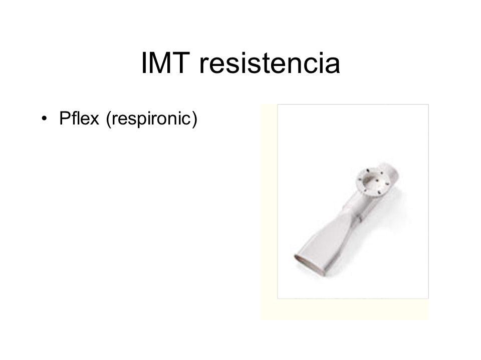 Dispositivo pressure threshold Threshold IMT Provee una presión constante y sostenida durante toda la inspiración que es independiente del flujo de aire.