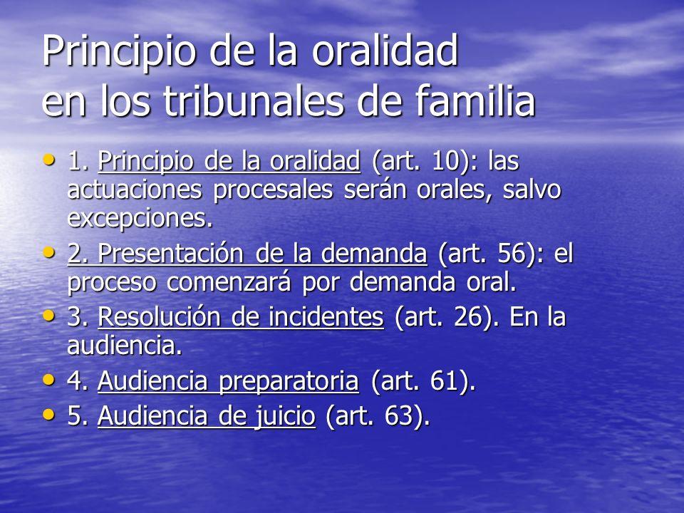 Principio de la oralidad en los tribunales de familia 1. Principio de la oralidad (art. 10): las actuaciones procesales serán orales, salvo excepcione