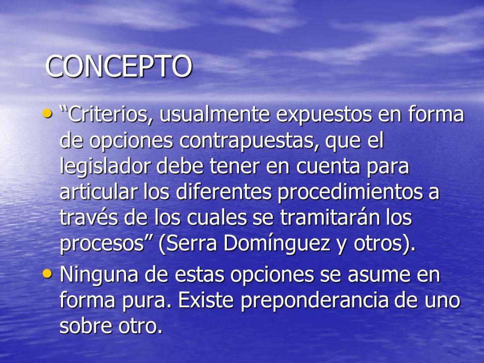 CONCEPTO Criterios, usualmente expuestos en forma de opciones contrapuestas, que el legislador debe tener en cuenta para articular los diferentes proc