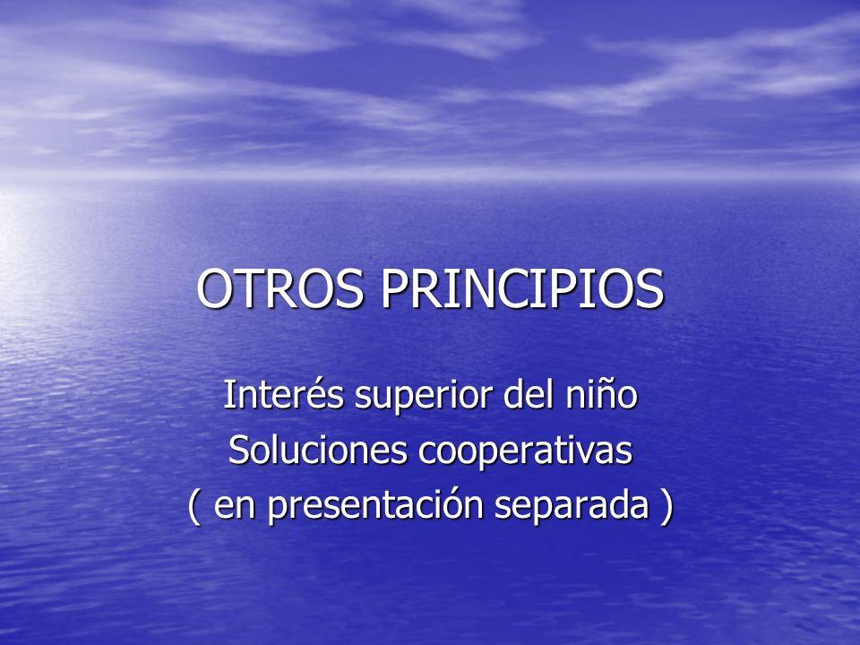 OTROS PRINCIPIOS Interés superior del niño Soluciones cooperativas ( en presentación separada )