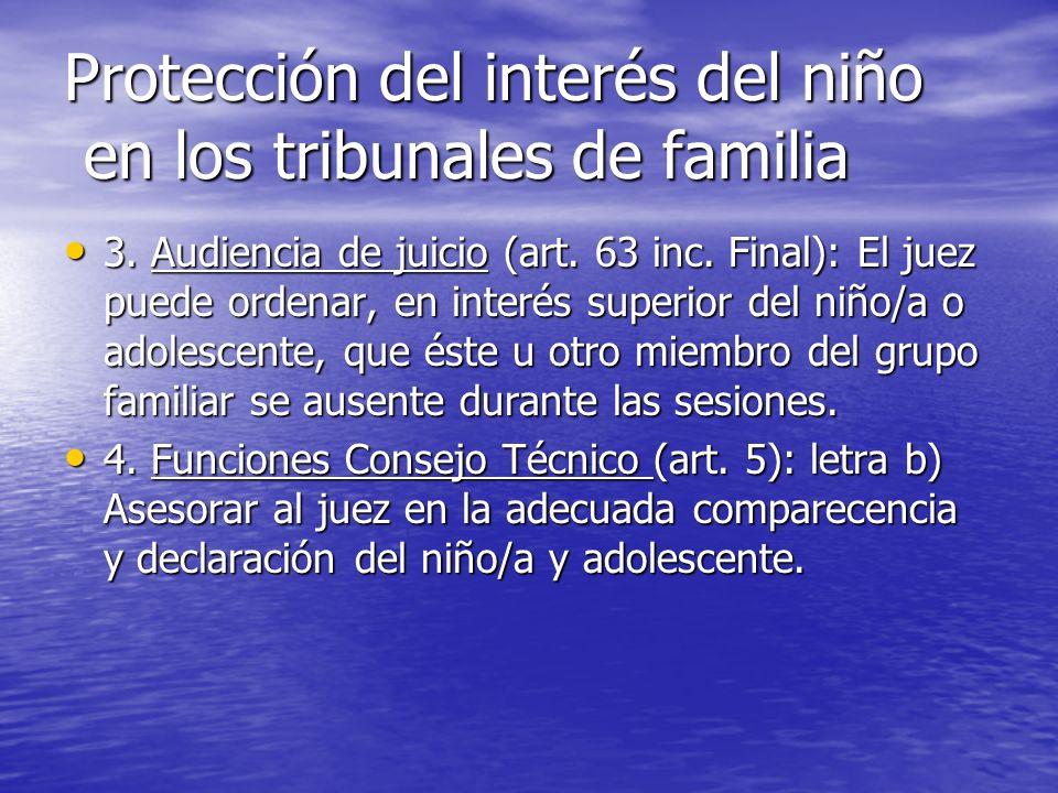 Protección del interés del niño en los tribunales de familia 3. Audiencia de juicio (art. 63 inc. Final): El juez puede ordenar, en interés superior d