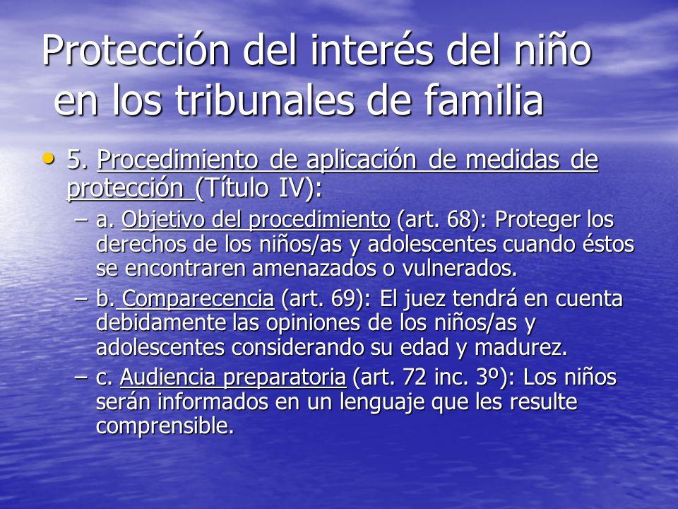 Protección del interés del niño en los tribunales de familia 5. Procedimiento de aplicación de medidas de protección (Título IV): 5. Procedimiento de