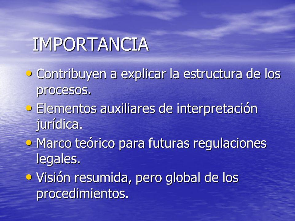 IMPORTANCIA Contribuyen a explicar la estructura de los procesos. Contribuyen a explicar la estructura de los procesos. Elementos auxiliares de interp