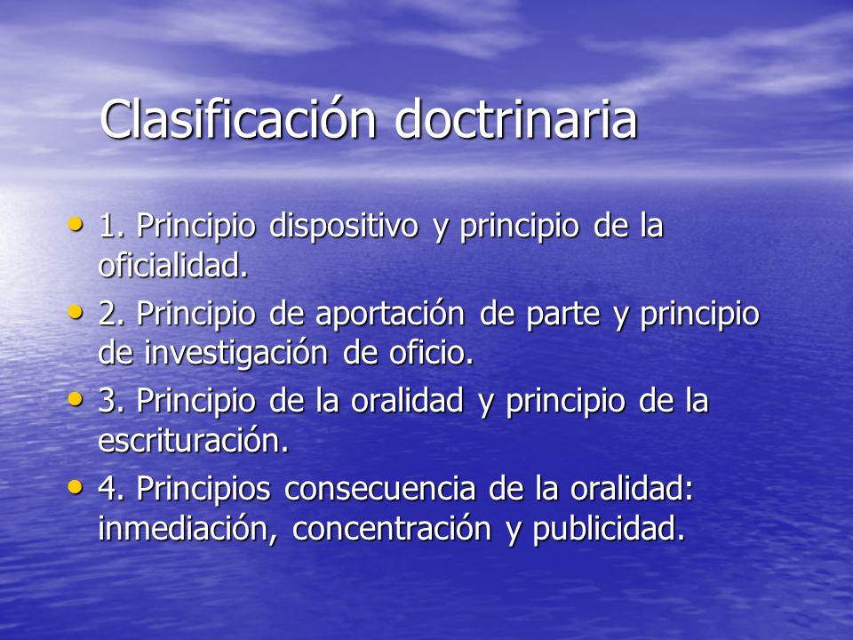 Clasificación doctrinaria 1. Principio dispositivo y principio de la oficialidad. 1. Principio dispositivo y principio de la oficialidad. 2. Principio