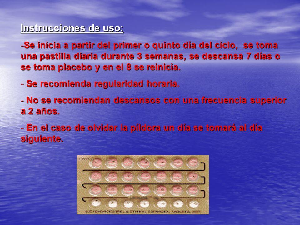 Instrucciones de uso: -Se inicia a partir del primer o quinto día del ciclo, se toma una pastilla diaria durante 3 semanas, se descansa 7 días o se to