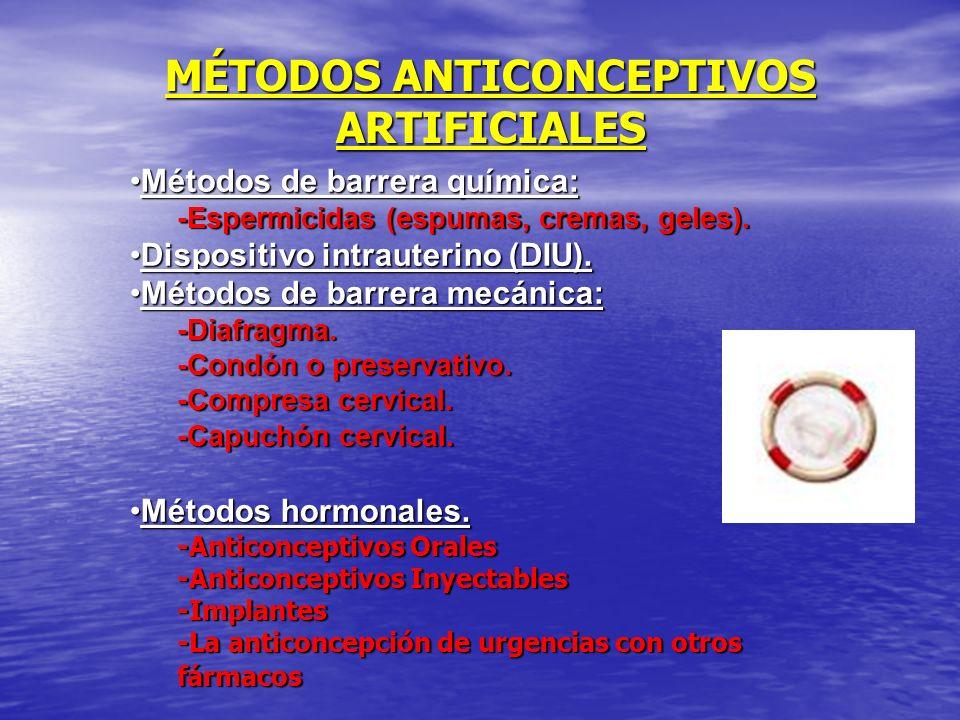 MÉTODOS ANTICONCEPTIVOS ARTIFICIALES Métodos de barrera química:Métodos de barrera química: -Espermicidas (espumas, cremas, geles). Dispositivo intrau