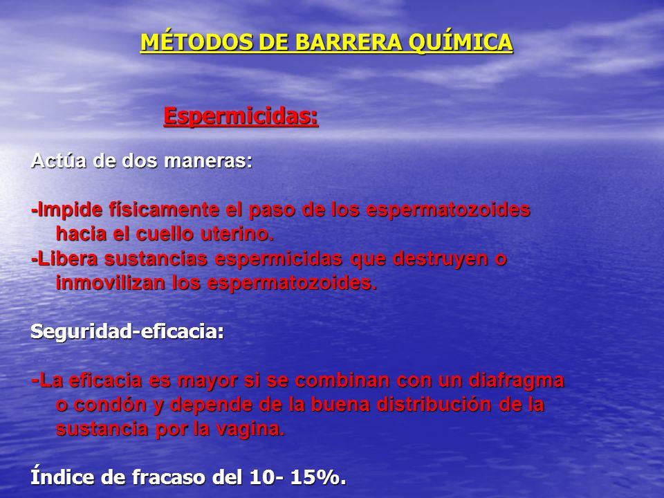 MÉTODOS DE BARRERA QUÍMICA Espermicidas: Actúa de dos maneras: -Impide físicamente el paso de los espermatozoides hacia el cuello uterino. -Libera sus