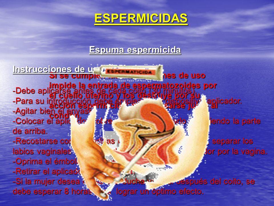 ESPERMICIDAS Espuma espermicida Si se cumplen las instrucciones de uso impide la entrada de espermatozoides por el cuello uterino y los destruye por s