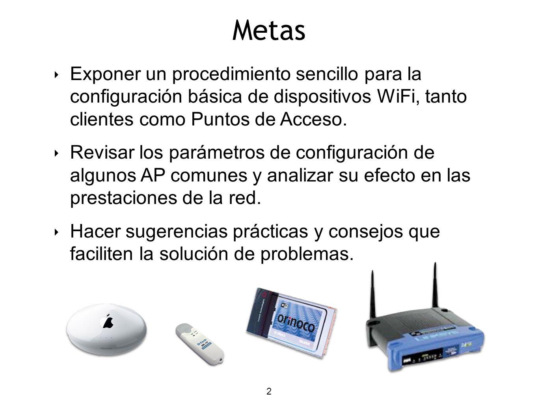 2 Metas Exponer un procedimiento sencillo para la configuración básica de dispositivos WiFi, tanto clientes como Puntos de Acceso.