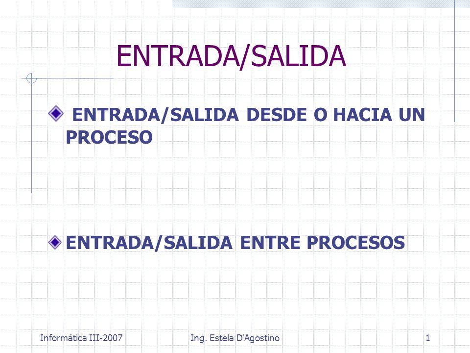 Informática III-2007Ing. Estela D'Agostino1 ENTRADA/SALIDA ENTRADA/SALIDA DESDE O HACIA UN PROCESO ENTRADA/SALIDA ENTRE PROCESOS