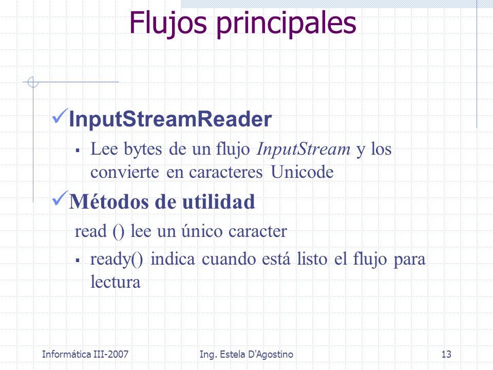 Informática III-2007Ing. Estela D'Agostino13 Flujos principales InputStreamReader Lee bytes de un flujo InputStream y los convierte en caracteres Unic