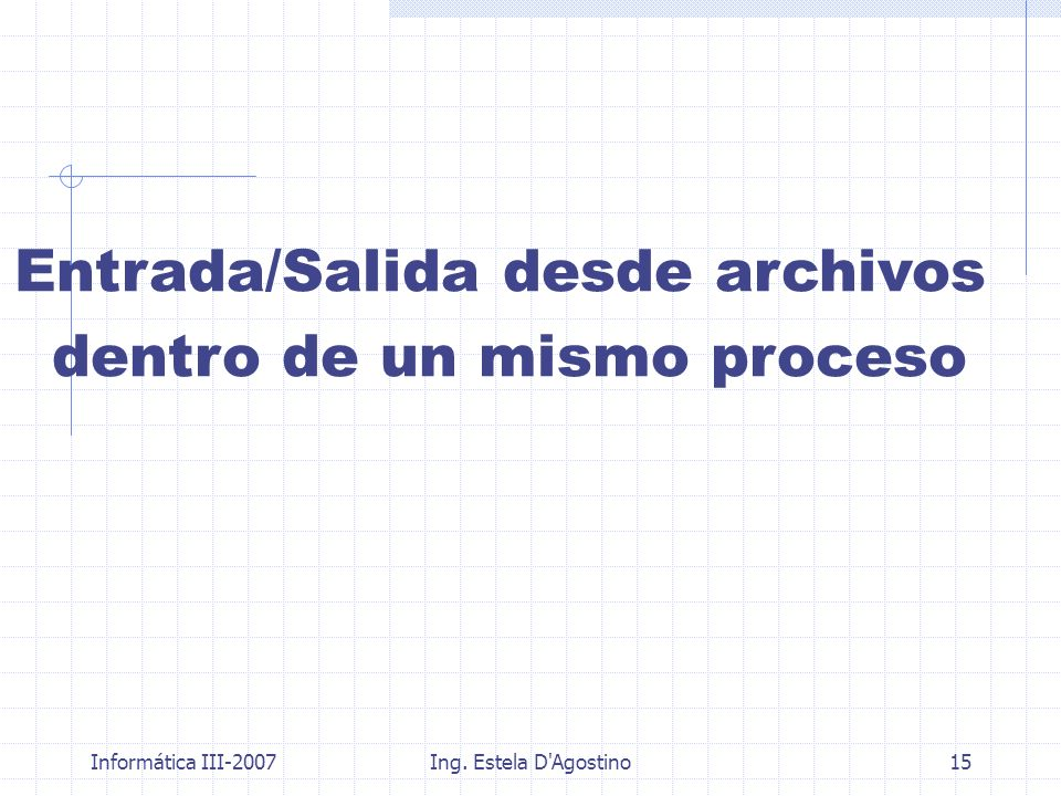 Informática III-2007Ing. Estela D'Agostino15 Entrada/Salida desde archivos dentro de un mismo proceso