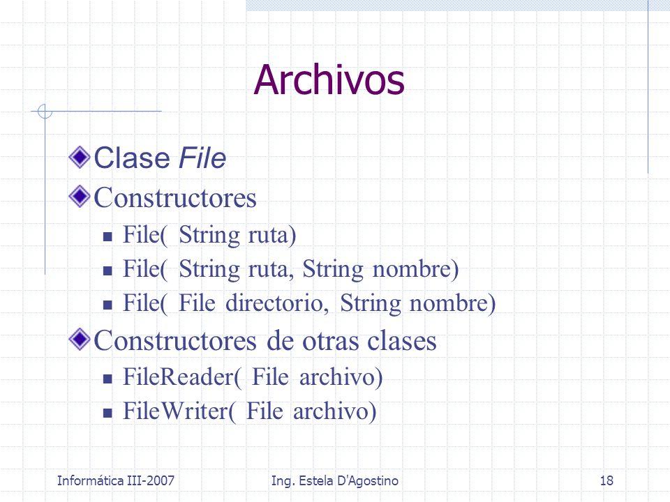 Informática III-2007Ing. Estela D'Agostino18 Archivos Clase File Constructores File( String ruta) File( String ruta, String nombre) File( File directo