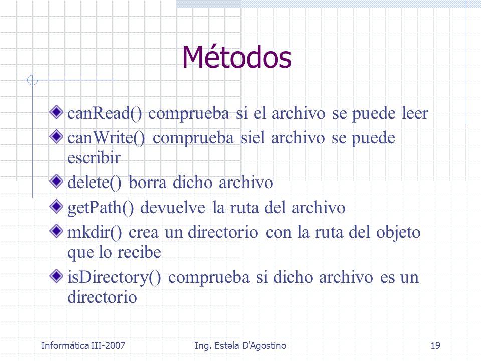 Informática III-2007Ing. Estela D'Agostino19 Métodos canRead() comprueba si el archivo se puede leer canWrite() comprueba siel archivo se puede escrib