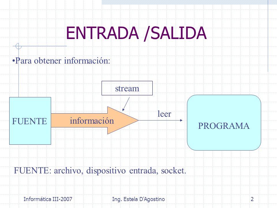 Informática III-2007Ing. Estela D'Agostino2 ENTRADA /SALIDA FUENTE PROGRAMA stream leer Para obtener información: FUENTE: archivo, dispositivo entrada