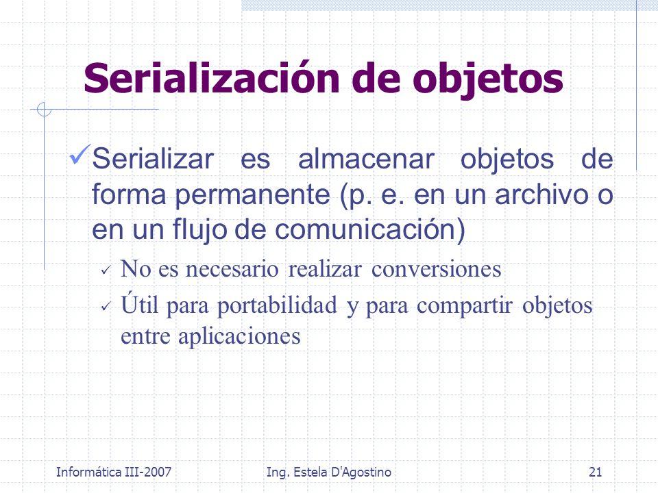 Informática III-2007Ing. Estela D'Agostino21 Serialización de objetos Serializar es almacenar objetos de forma permanente (p. e. en un archivo o en un