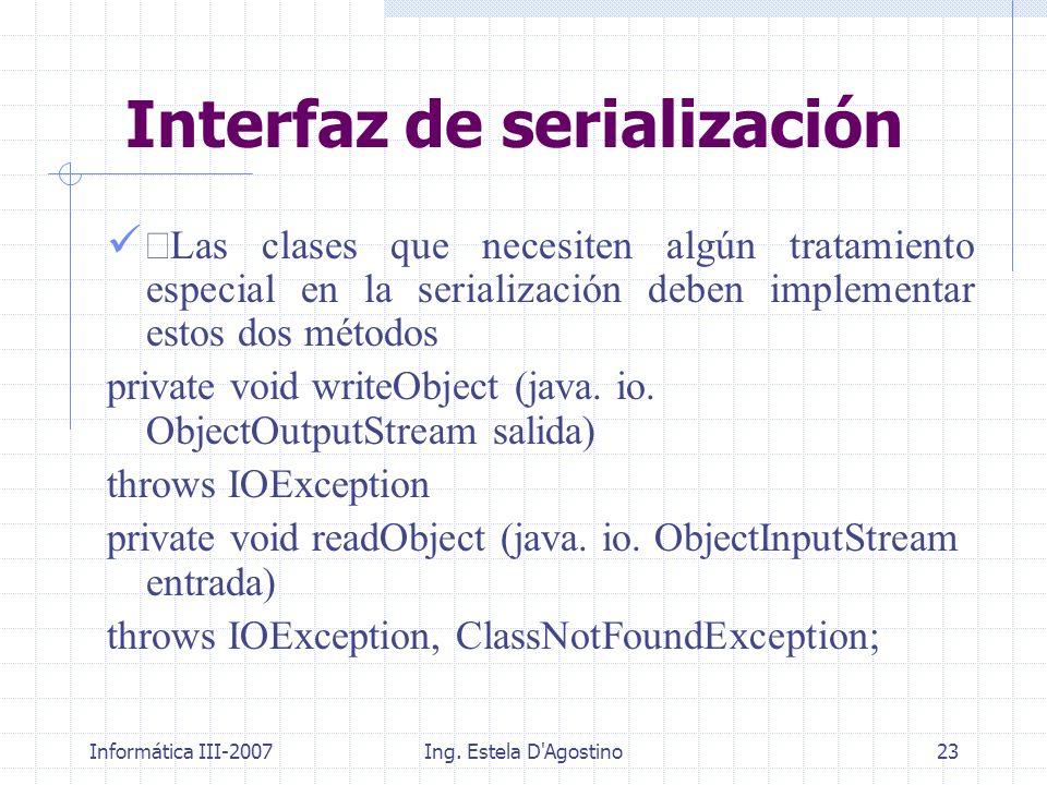 Informática III-2007Ing. Estela D'Agostino23 Las clases que necesiten algún tratamiento especial en la serialización deben implementar estos dos métod