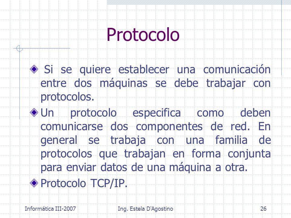 Informática III-2007Ing. Estela D'Agostino26 Protocolo Si se quiere establecer una comunicación entre dos máquinas se debe trabajar con protocolos. Un