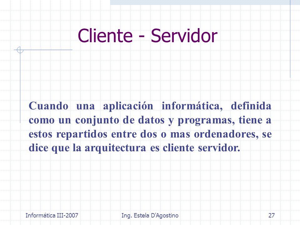 Informática III-2007Ing. Estela D'Agostino27 Cliente - Servidor Cuando una aplicación informática, definida como un conjunto de datos y programas, tie