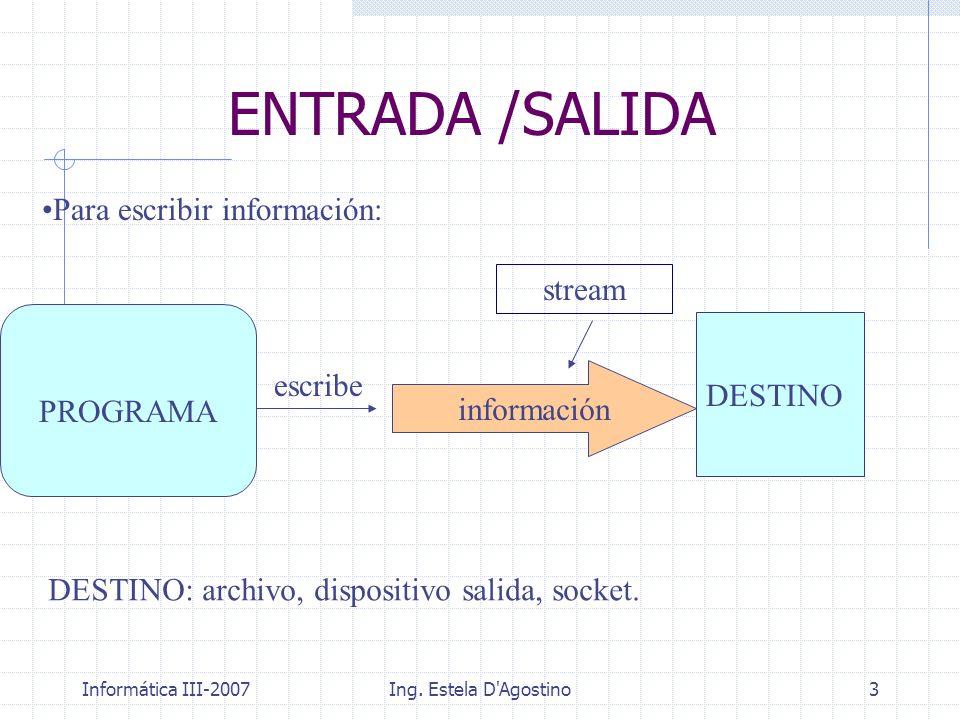 Informática III-2007Ing. Estela D'Agostino3 ENTRADA /SALIDA DESTINO PROGRAMA stream escribe Para escribir información: DESTINO: archivo, dispositivo s