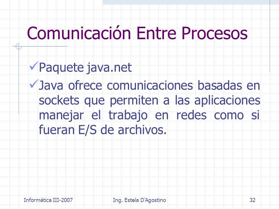 Informática III-2007Ing. Estela D'Agostino32 Paquete java.net Java ofrece comunicaciones basadas en sockets que permiten a las aplicaciones manejar el