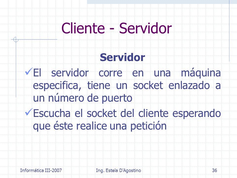 Informática III-2007Ing. Estela D'Agostino36 Servidor El servidor corre en una máquina especifica, tiene un socket enlazado a un número de puerto Escu