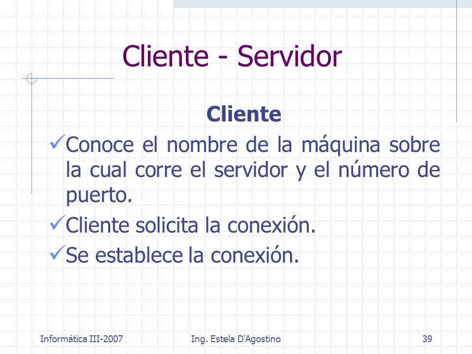 Informática III-2007Ing. Estela D'Agostino39 Cliente Conoce el nombre de la máquina sobre la cual corre el servidor y el número de puerto. Cliente sol