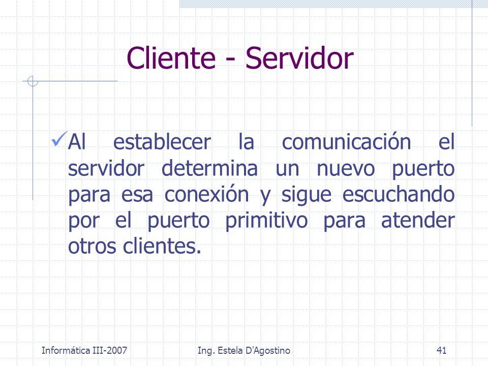 Informática III-2007Ing. Estela D'Agostino41 Al establecer la comunicación el servidor determina un nuevo puerto para esa conexión y sigue escuchando
