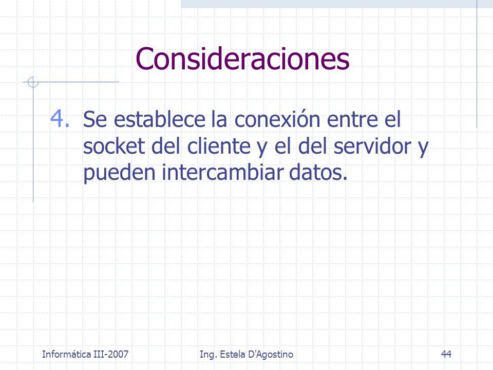 Informática III-2007Ing. Estela D'Agostino44 4. Se establece la conexión entre el socket del cliente y el del servidor y pueden intercambiar datos. Co