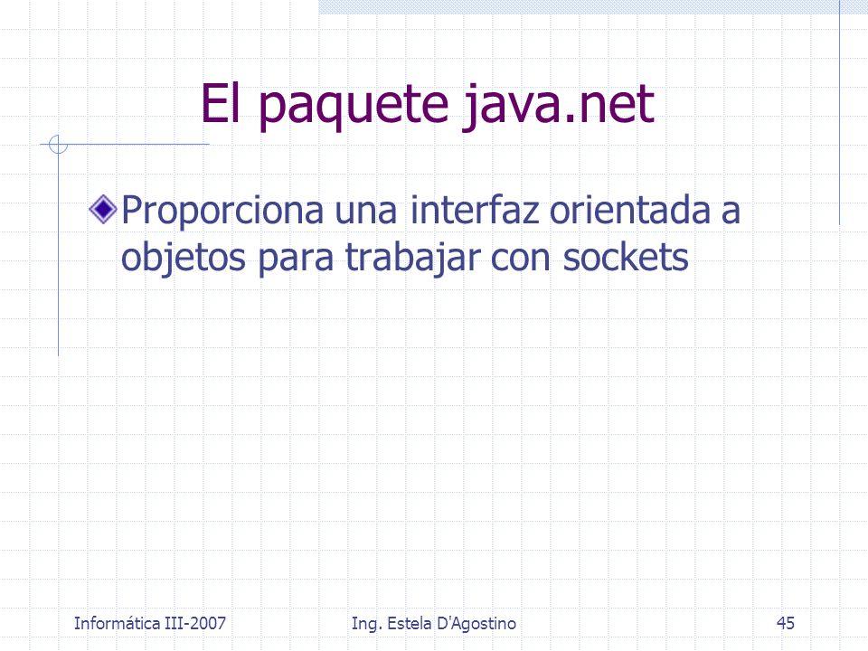 Informática III-2007Ing. Estela D'Agostino45 El paquete java.net Proporciona una interfaz orientada a objetos para trabajar con sockets