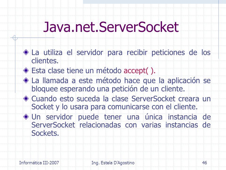 Informática III-2007Ing. Estela D'Agostino46 Java.net.ServerSocket La utiliza el servidor para recibir peticiones de los clientes. Esta clase tiene un