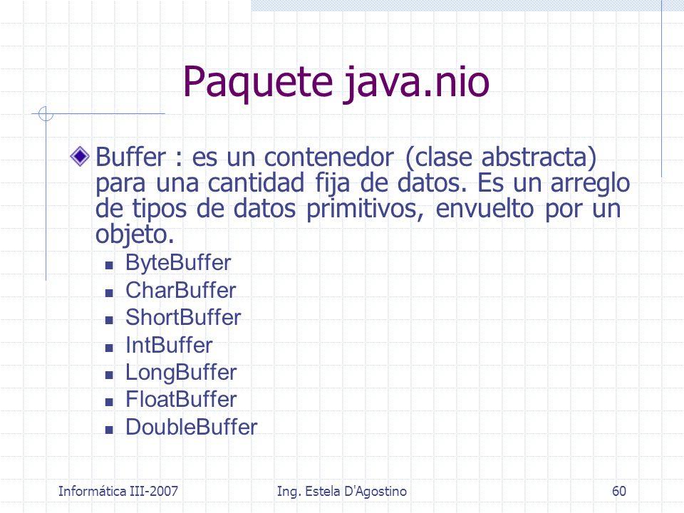 Informática III-2007Ing. Estela D'Agostino60 Buffer : es un contenedor (clase abstracta) para una cantidad fija de datos. Es un arreglo de tipos de da