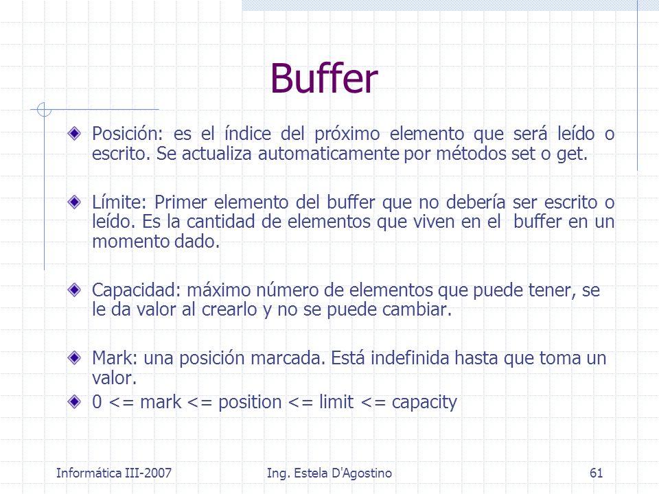 Informática III-2007Ing. Estela D'Agostino61 Buffer Posición: es el índice del próximo elemento que será leído o escrito. Se actualiza automaticamente
