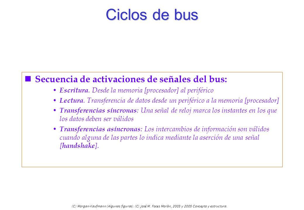 (C) Morgan-Kaufmann (Algunas figuras). (C) José M. Foces Morán, 2003 y 2005 Concepto y estructura. Ciclos de bus n Secuencia de activaciones de señale