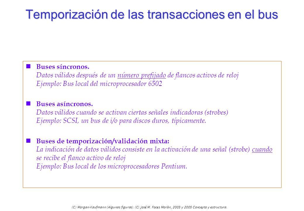(C) Morgan-Kaufmann (Algunas figuras). (C) José M. Foces Morán, 2003 y 2005 Concepto y estructura. Temporización de las transacciones en el bus n Buse