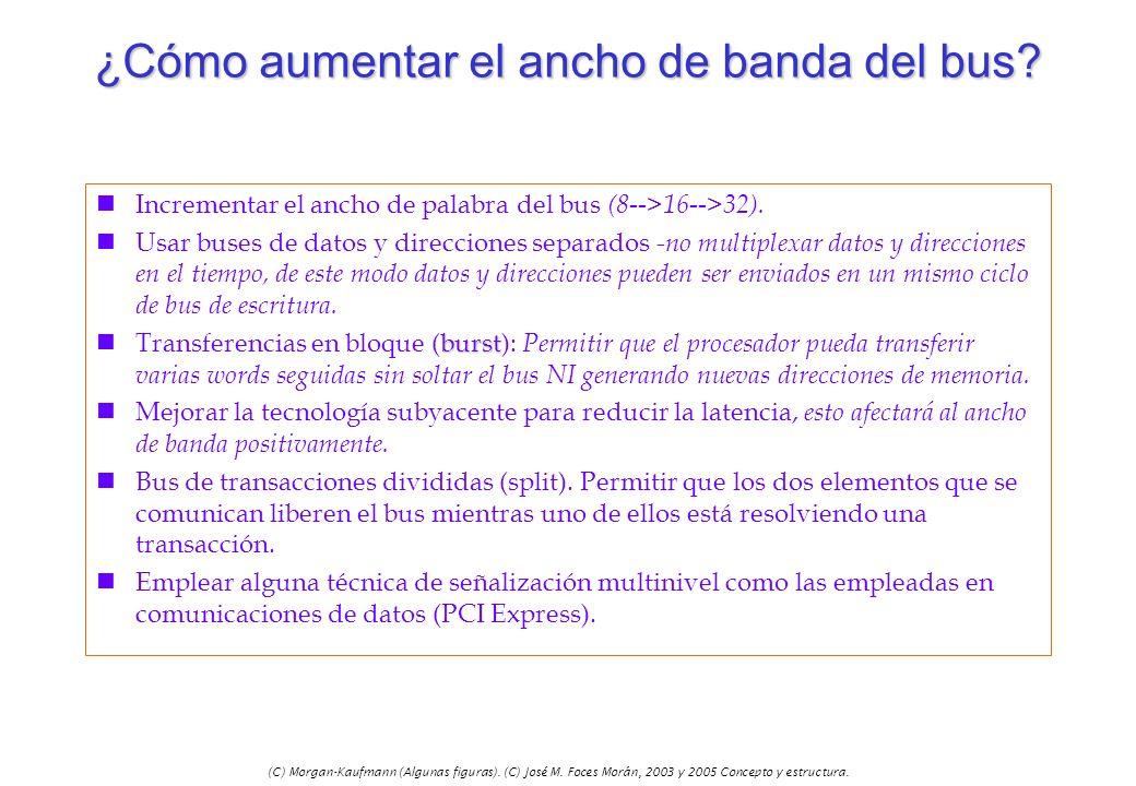 (C) Morgan-Kaufmann (Algunas figuras). (C) José M. Foces Morán, 2003 y 2005 Concepto y estructura. ¿Cómo aumentar el ancho de banda del bus? nIncremen