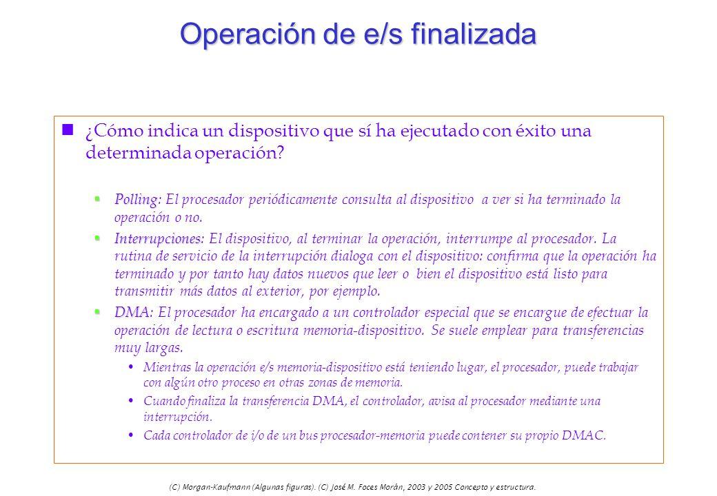 (C) Morgan-Kaufmann (Algunas figuras). (C) José M. Foces Morán, 2003 y 2005 Concepto y estructura. Operación de e/s finalizada n¿Cómo indica un dispos