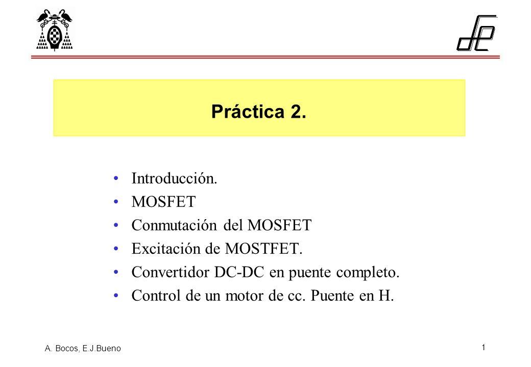 A. Bocos, E.J.Bueno 1 Introducción. MOSFET Conmutación del MOSFET Excitación de MOSTFET. Convertidor DC-DC en puente completo. Control de un motor de