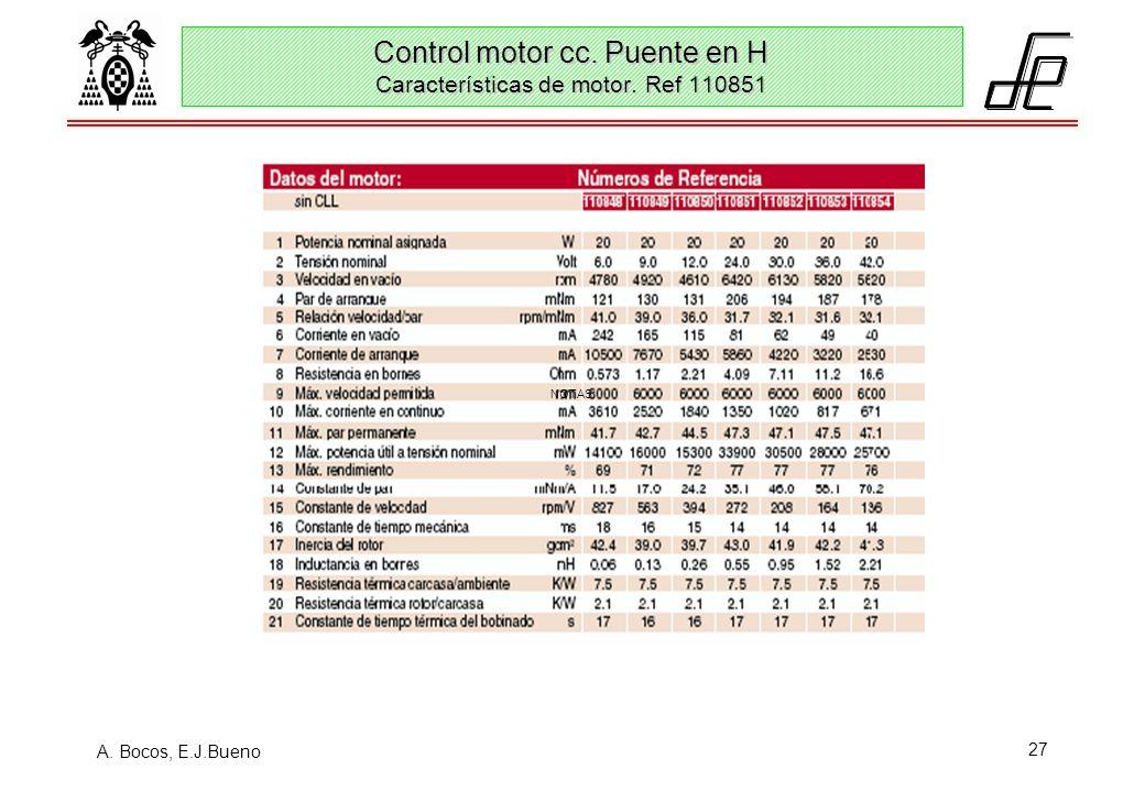 A. Bocos, E.J.Bueno 27 Control motor cc. Puente en H Características de motor. Ref 110851 NOTAS: