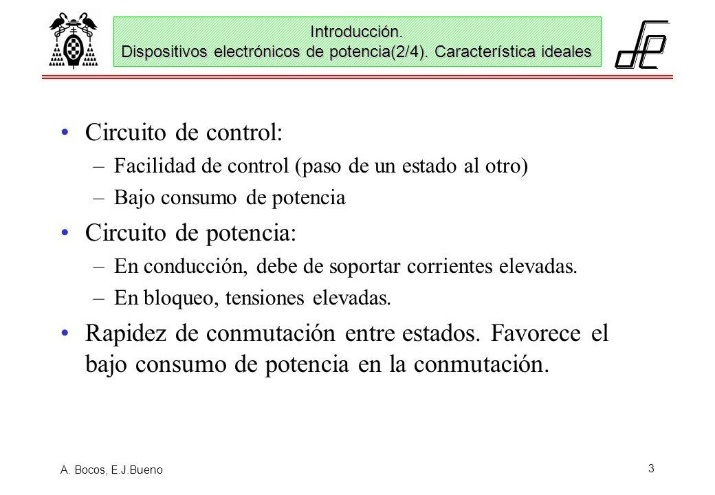 A. Bocos, E.J.Bueno 3 Circuito de control: –Facilidad de control (paso de un estado al otro) –Bajo consumo de potencia Circuito de potencia: –En condu