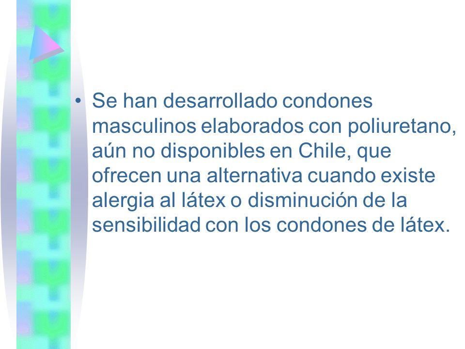 Se han desarrollado condones masculinos elaborados con poliuretano, aún no disponibles en Chile, que ofrecen una alternativa cuando existe alergia al