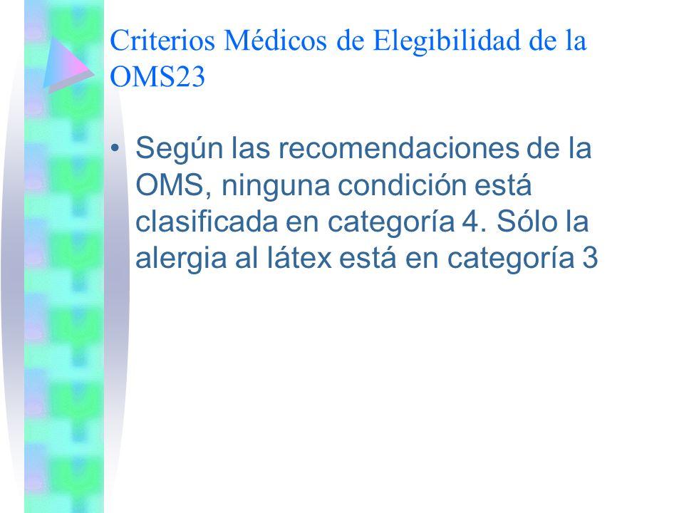 Criterios Médicos de Elegibilidad de la OMS23 Según las recomendaciones de la OMS, ninguna condición está clasificada en categoría 4. Sólo la alergia