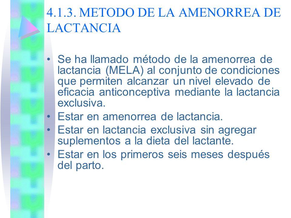 4.1.3. METODO DE LA AMENORREA DE LACTANCIA Se ha llamado método de la amenorrea de lactancia (MELA) al conjunto de condiciones que permiten alcanzar u
