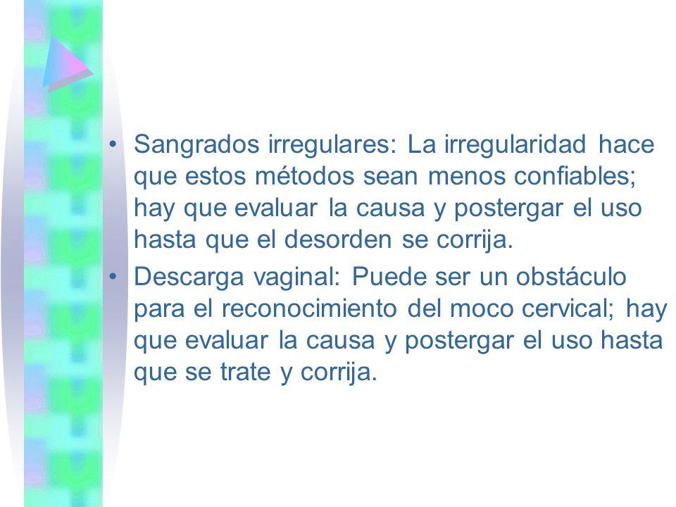 Sangrados irregulares: La irregularidad hace que estos métodos sean menos confiables; hay que evaluar la causa y postergar el uso hasta que el desorde