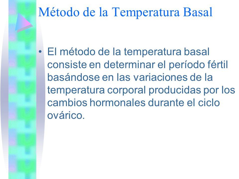 Método de la Temperatura Basal El método de la temperatura basal consiste en determinar el período fértil basándose en las variaciones de la temperatu