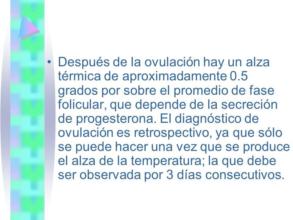 Después de la ovulación hay un alza térmica de aproximadamente 0.5 grados por sobre el promedio de fase folicular, que depende de la secreción de prog