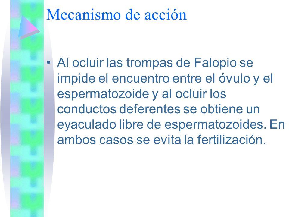 Mecanismo de acción Al ocluir las trompas de Falopio se impide el encuentro entre el óvulo y el espermatozoide y al ocluir los conductos deferentes se