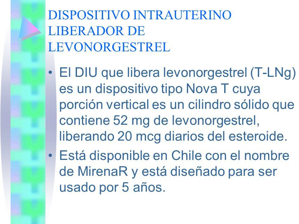 DISPOSITIVO INTRAUTERINO LIBERADOR DE LEVONORGESTREL El DIU que libera levonorgestrel (T-LNg) es un dispositivo tipo Nova T cuya porción vertical es u
